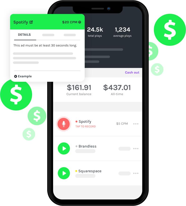 phone displaying Anchor's Sponsorship tool