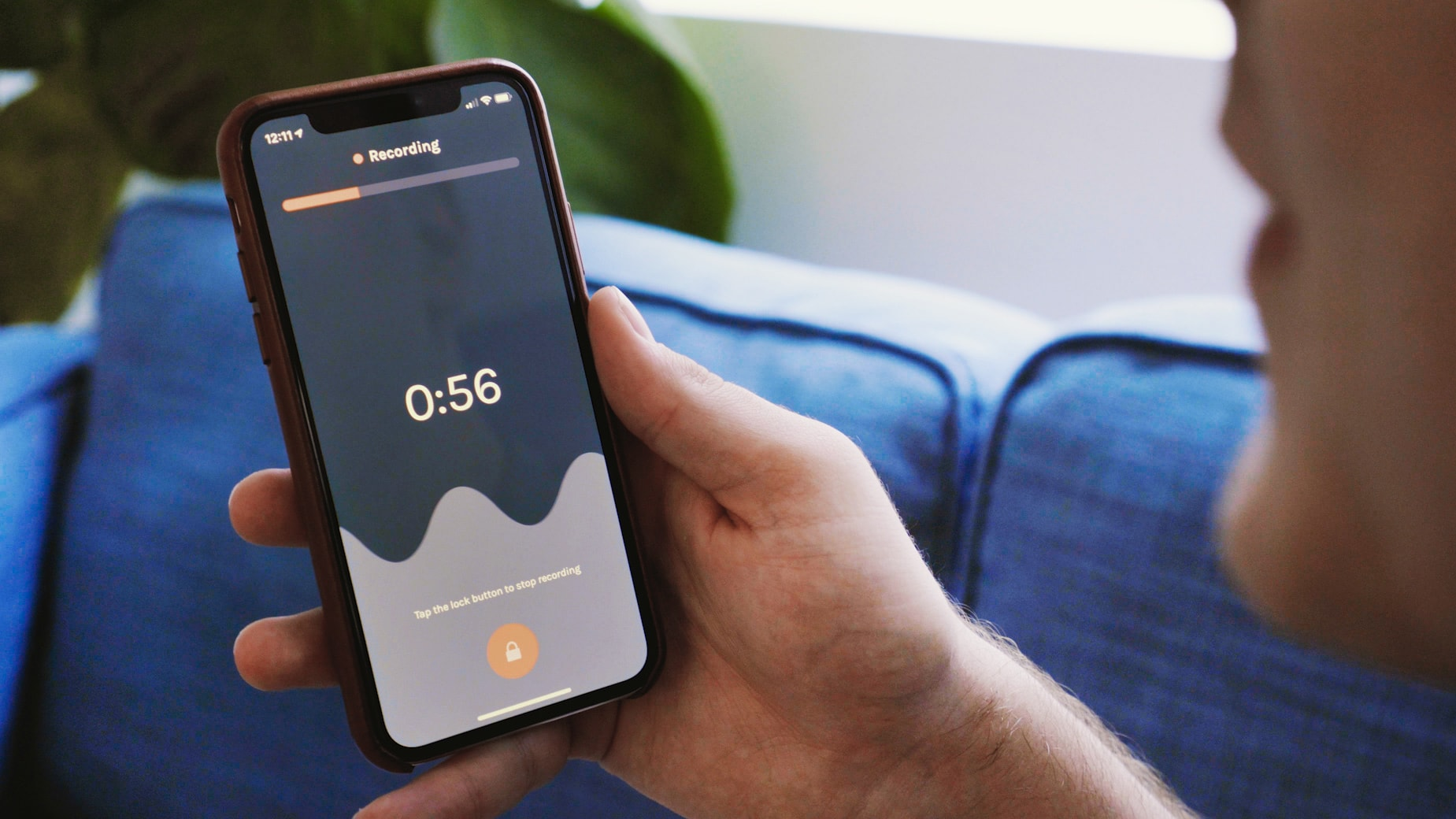 man recording a podcast using Anchor for iPhone